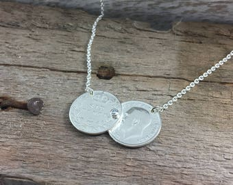 Silver sixpence Double Coin necklace, stone set, lucky sixpence or three pence pre 1920, Holly Willoughby, sixpence threepence necklace