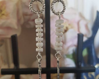 White Beaded Feather Earrings