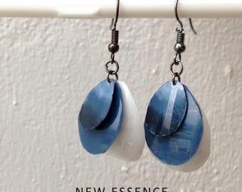 Prussian blue, dangle earrings, handmade earrings, simple earrings, hanging earrings, recycled earrings.