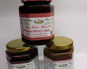 3 x 300g jars HOME MADE Jam from Home Grown Fruit - 3 flavours Summerberry, Blackcurrant/Liquorice and Rhubarb/Vanilla - FREE postage