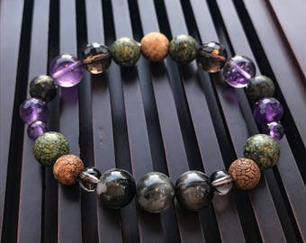 Chrysoberyl Cat Eye/Russian Serpentine/Rare Tibetan Agate/Amethyst/Smoky Quartz Beaded Yoga Mala Bracelet. Healing Crystal/Natural Gemstones