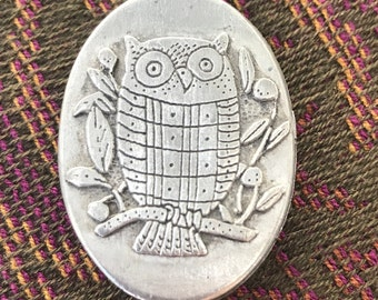 Vintage Sulitan Pewter Owl Trinket Box