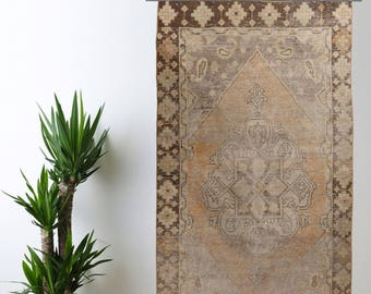 Muted Faded Turkish Rug Oushak Decorative Handwoven Rug Turkish Antique Rug 4.1 ft x 7.4 ft F-239
