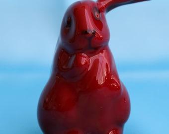 Vintage #1165 Royal Doulton FLAMBÉ Figure Lop-Eared Red Rabbit (Small)  (S150)