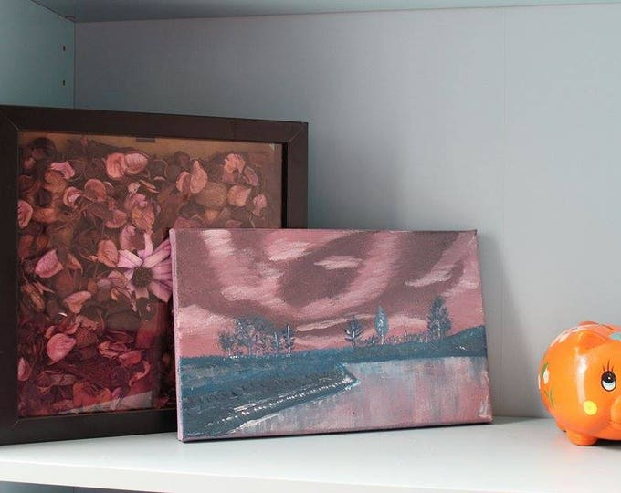 Pink-Blue Landscape 26x16cm Original Landscape Painting