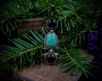 Onyx Turquoise Triplet Ring / Three Stone Ring / Black Onyx Ring / Turquoise Ring / Black Stone Ring / Bohemian Ring / Handmade / OOAK
