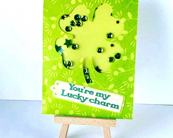 St. Patrick's Day Card, Shaker Card, St Patrick's Day Shaker Card, Shamrock Card, Happy St. Patrick's Day Card, You're My Lucky Charm Card