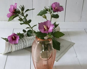 Antique pink glass vase.French vintage pressed rose colored 1960's vase.Shabby French chic flower vase.Antique French vintage gift old vase