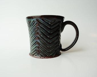 Handmade Ceramic Mug   Carved Chevrons   Pottery Mug