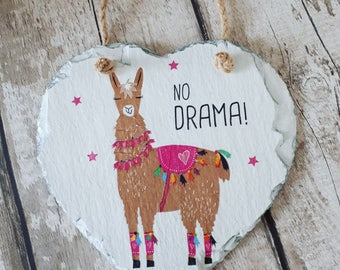 Llama Gift, No Drama Llama, Llama Decor, Llamas, Painted Slate Hanging Heart, Plaque, Large, , Gift, Handmade