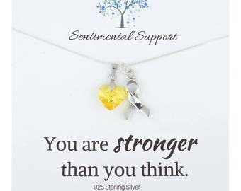Bladder Cancer, Bone Cancer, Sarcoma, Spina Bifida, or Support The Troops Awareness Necklace, Yellow Heart Crystal Silver Support Ribbon