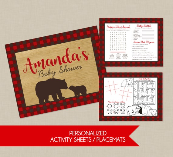 Plaid Mama Bear Baby Shower Activity Sheet Placemat Adult And