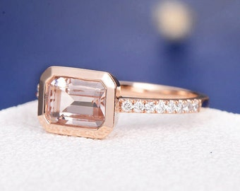 Bezel Set Morganite Engagement Ring Rose Gold Wedding Ring Unique Diamond Half Eternity Ring Anniversary Gift Promise Emerald Cut Women Ring