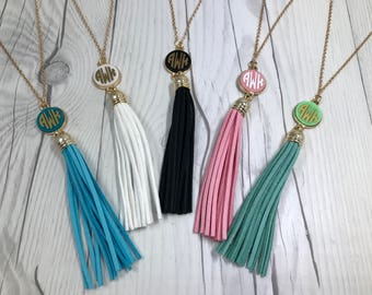 Monogrammed Long Tassel Necklac, Monogram Necklace, Monogram Tassel Necklace, Initial Necklace, Leather Tassel Necklace, Monogram Gift