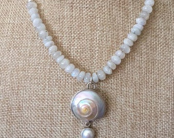 SALE- Moonstone strung on silver chain with a shell and pearl pendant bezel set in silver.  Sundance inspired.