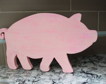 Pig, Farmhouse Decor, Country Kitchen Decor, Pink Pig, Kids Room Wall Decor