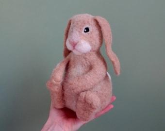 Music box, bunny, toy, needle felted animal, plush toys, baby toy, felt animals, stuffed animals, baby shower gift, musical toy, felt, wool