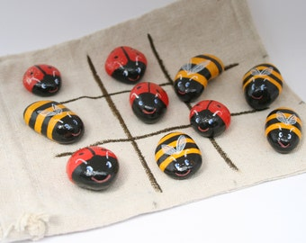 Tic Tac Toe, Noughts and Crosses with Ladybirds and Bees, Painted Pebbles