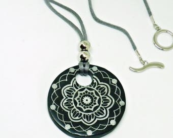 Mandala, Black necklace, Polymer clay, Bohemian jewelry, Nice gift for her, Long necklace, Nature jewelry, Gift for friend, Meditation