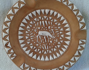 Vintage Hand Made in Rhodes greece by Neofitou Pottery Ashtray