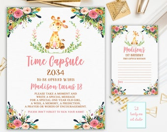 Giraffe Time Capsule Sign, Time Capsule Sign First Birthday, Time Capsule First Birthday + Matching Note Cards, Printable Personalized