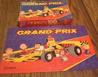Vintage Peanuts Grand Prix Puzzle, COMPLETE, ORIGINAL BOX