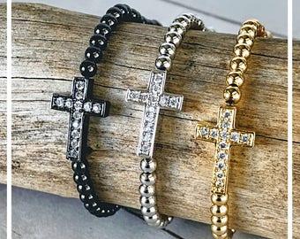 Sideways Cross Bracelets, Metal Bead CZ Charm Bracelets, Men & Women Cross Jewelry, Gold, Silver, Gunmetal, Cross with CZ Diamond Crystal