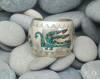 Rare Navajo Chip Inlay Bracelet - Native American - Antique Silver - 1970's - Turquoise & Coral Cuff - Bird Motif - Vintage - Boho Jewellery