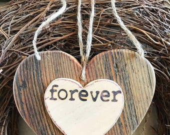 Forever rustic heart, Wood heart, Valentine gift, Valentine decor, Wedding decor
