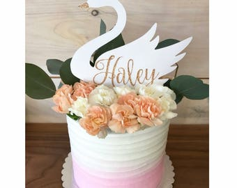 Glitter Swan Cake Topper | Custom Name Swan Cupcake Topper | Swan Decoration | Personalized Custom Cake Decoration