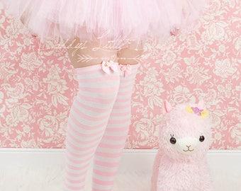 DDLG Sexy Pink DADDY'S GIRL Lolita Stripe Bow & Rose Tall Over Knee High Socks Lingerie Baby Kitten Little Babygirl Cosplay Kawaii bdsm abdl