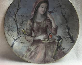 D'Arceau-Limoges Collector Plate - La Jeune Fille D'Hiver - Winter Girl with Birds (#156)