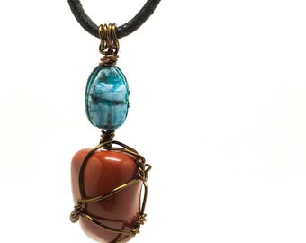 Scarab Beetle / Red Jasper necklace - Egyptian Scarab Beetle - Red Jasper - wrapped w/ 20ga Bronze Wire (necklace string included)