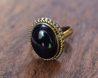 45% off brass ring,black  stone adjustable brass jewellery ring, beautiful ring, gemstone ring