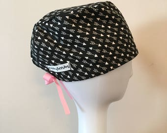 NattyScrubs Black and White Arrows Scrub Hat, Scrub Cap, Surgical Cap