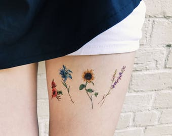 Temporary Tattoos Summer Flower Set of 8, flower tattoos , lavender, rose, peony, lily, sunflower, pink, blue, red,yellow, handmade