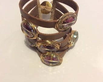 Crystal leather bracelet. Cristale Leather wristband