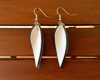 Black and White Double Leather Leaf Earrings