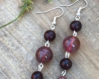 Rosewood Dangle Earrings    Rosewood Earrings    Semi Precious Earrings