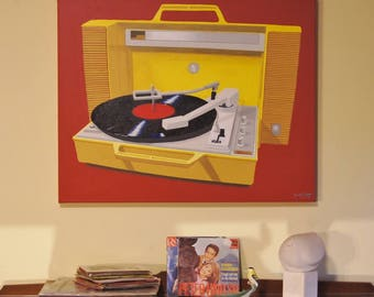 """Original Acrylic Painting Wall Art Pop Art 24"""" x 30"""" Stretched Canvas Frame Red, Yellow Retro Record Player"""