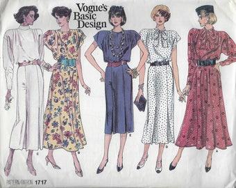 Vintage Vogue Basic Design Sewing Pattern 1717  Dress Size 8 10 12  Uncut Factory Folded 1980s