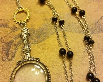 Steampunk Magnifying Glass Necklace, pendant, gold, gear, women's gift, jewelry