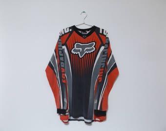 90s FOX RACING All Over Print Long Sleeve T-shirt / Motocross Jersey Size M Streetwear