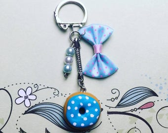 Blue with white dot - polymer clay Donut keychain