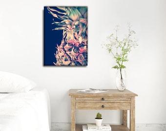 Modern Pineapple Print, Pineapple Art Prints, Dark Blue Printable, Pink and Blue Wall Decor, Tropical Photo Decor, Printable Gifts For Him