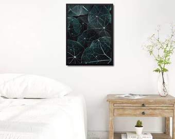 Modern Leaves Poster, Large Green Art Print, Scandinavian Abstract Print, Modern Nature Abstract Gift, Modern Living Room Wall Decor Gift