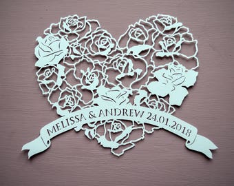Floral Rose Heart Personalised Papercut, Hand cut Art / Gift, Present, Flowers, Handmade, Paper Cut, Couple Cut Out