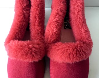 Vintage Red Jane Ross Slippers, Vintage 1960s Slippers, New Zealand Made, Fluffy Slippers, Red Vintage Slippers, House Slippers,