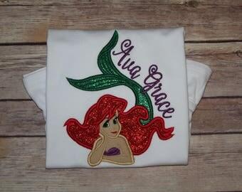 The Little Mermaid Ariel Appliqué Shirt, Ariel Birthday Shirt, Little Mermaid Theme Appliqué Shirt, Ariel Birthday Shirt, Mermaid Shirt