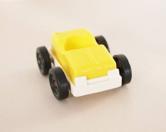 Yellow vintage car Educalux, vintage toy for child, vintage educalux, educalux toy, litlle yellow car